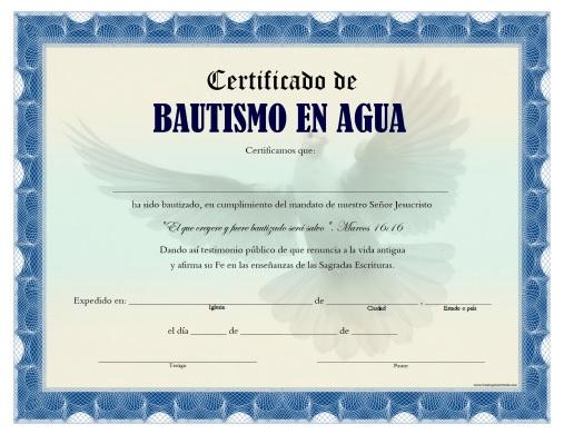 imprimir certificado de bautismo en agua personalizar certificado de
