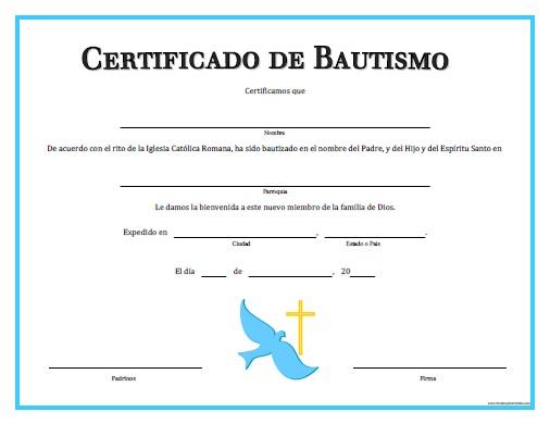 Certificado de Bautizo para Niño para Imprimir Gratis