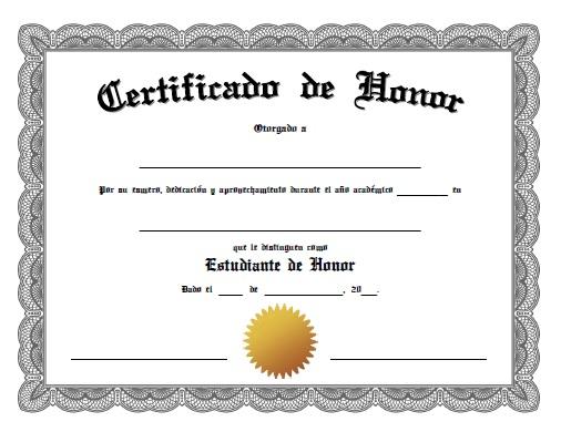 Certificado de Honor para Imprimir Gratis