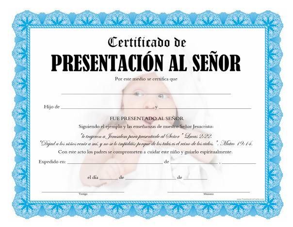 Certificado de Presentación de Niño para Imprimir Gratis