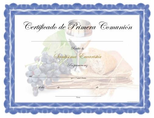 Certificado de Primera Comunión para Imprimir Gratis