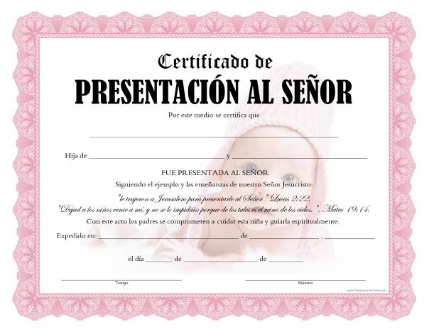 Certificados de Presentación al Señor para Imprimir Gratis