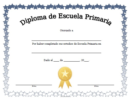 Diploma de Escuela Primaria para Imprimir Gratis