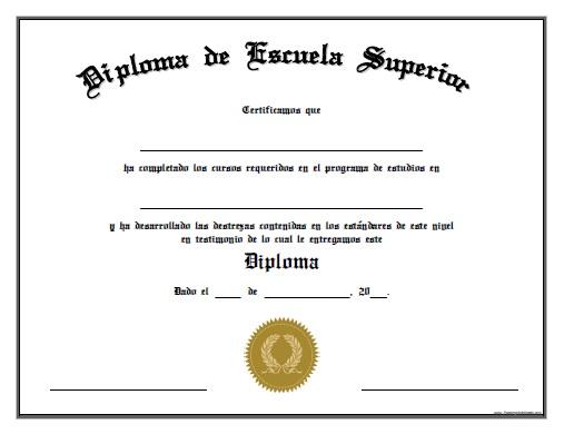 Diploma de Escuela Superior para Imprimir Gratis