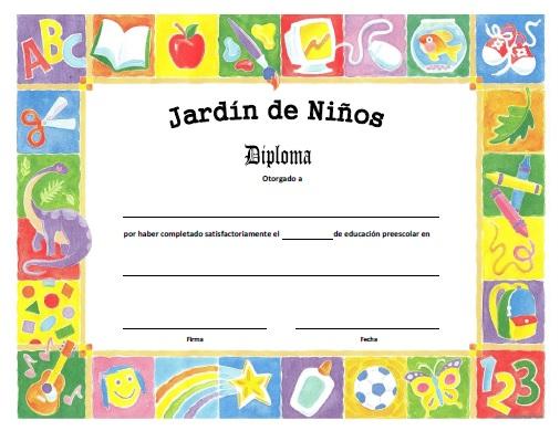 Diploma de Jardín de Niños para Imprimir