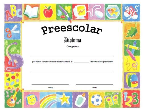 Diploma de Preescolar para Imprimir Gratis