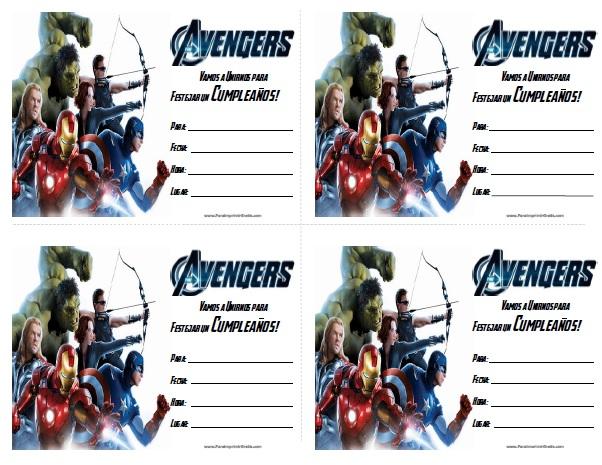 Invitaciones de Avengers para Imprimir