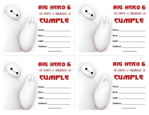Invitaciones de Big Hero 6 para Imprimir