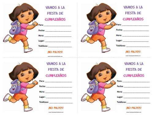 Invitaciones de Dora la Exploradora para Imprimir