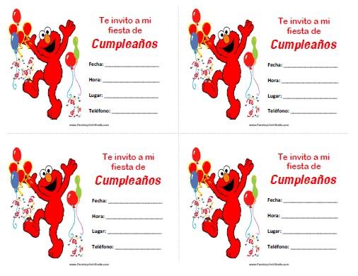 Invitaciones de Elmo para Imprimir