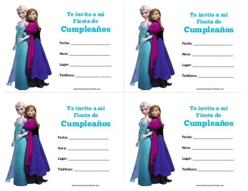 Invitaciones de Frozen para Imprimir