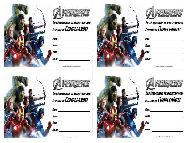 Invitaciones de Los Vengadores para Imprimir