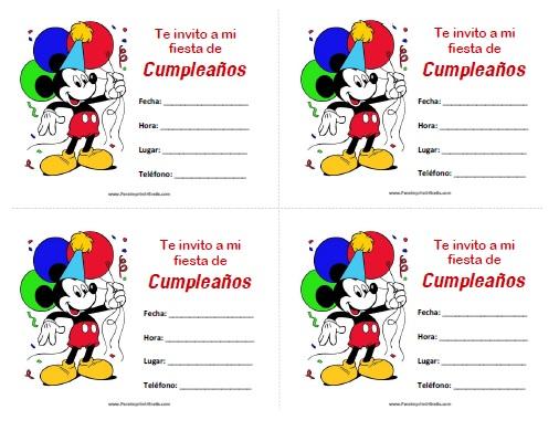 Invitaciones de Mickey Mouse para Imprimir