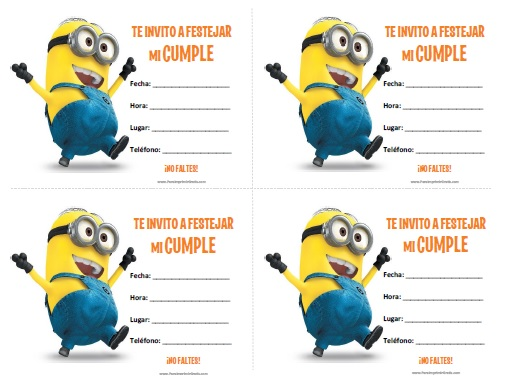 Minion Birthday Invitation Templates Printable