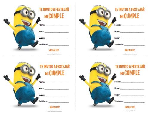 Invitaciones de Minions para Imprimir