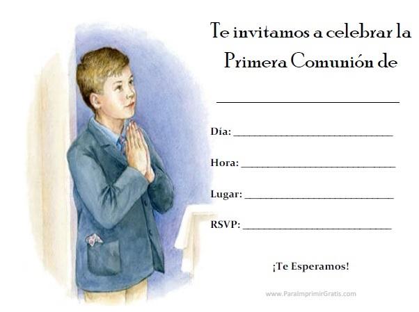 Invitaciones de Primera Comunión de Niño para Imprimir Gratis