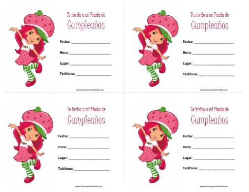Invitaciones de Rosita Fresita para Imprimir