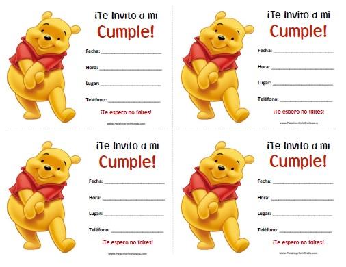 Invitaciones de Winnie Pooh para Imprimir